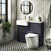 Arezzo 1100 Matt Blue Semi-Recessed Round Combination Vanity Unit (Brushed Brass Flush & Handles) profile small image view 1