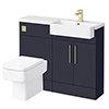 Arezzo 1100 Matt Blue Semi-Recessed Square Combination Vanity Unit (Brushed Brass Flush & Handles) profile small image view 1