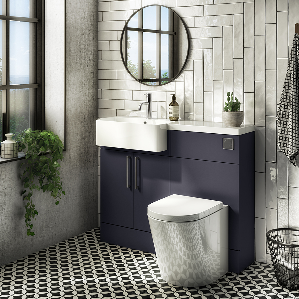 Arezzo 1100 Matt Blue Semi-Recessed Round Combination Vanity Unit (Chrome Flush & Handles)