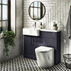 Arezzo 1100 Matt Blue Semi-Recessed Round Combination Vanity Unit (Chrome Flush & Handles) profile small image view 1