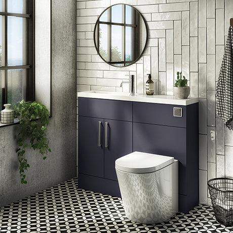 Arezzo 1100 Matt Blue Slimline Combination Vanity Unit (Chrome Flush & Handles)