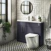 Arezzo 1100 Matt Blue Slimline Combination Vanity Unit (Chrome Flush & Handles) profile small image view 1