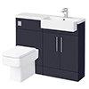 Arezzo 1100 Matt Blue Semi-Recessed Square Combination Vanity Unit (Chrome Flush & Handles) profile small image view 1