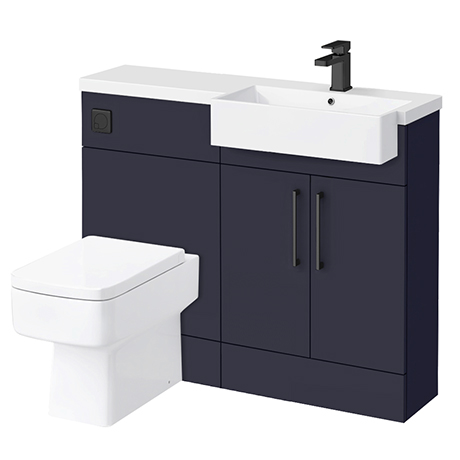 Arezzo 1100 Matt Blue Semi-Recessed Square Combination Vanity Unit (Matt Black Flush & Handles)