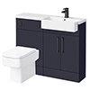 Arezzo 1100 Matt Blue Semi-Recessed Square Combination Vanity Unit (Matt Black Flush & Handles) profile small image view 1