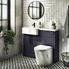 Arezzo 1100 Matt Blue Semi-Recessed Round Combination Vanity Unit (Matt Black Flush & Handles) profile small image view 1