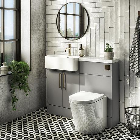 Arezzo 1100 Matt Grey Semi-Recessed Round Combination Vanity Unit (Brushed Brass Flush & Handles)
