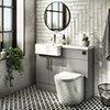 Arezzo 1100 Matt Grey Semi-Recessed Round Combination Vanity Unit (Brushed Brass Flush & Handles) profile small image view 1
