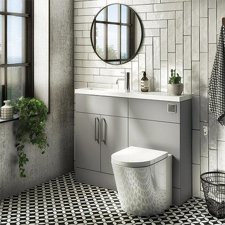 Arezzo 1100 Matt Grey Slimline Combination Vanity Unit (Chrome Flush & Handles)