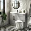 Arezzo 1100 Matt Grey Slimline Combination Vanity Unit (Chrome Flush & Handles) profile small image view 1
