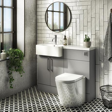 Arezzo 1100 Matt Grey Semi-Recessed Round Combination Vanity Unit (Chrome Flush & Handles)