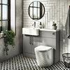 Arezzo 1100 Matt Grey Semi-Recessed Round Combination Vanity Unit (Chrome Flush & Handles) profile small image view 1