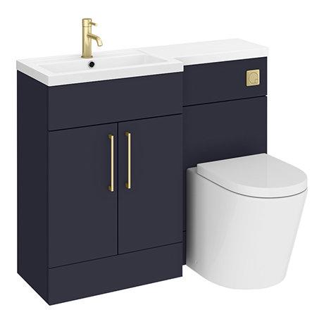 Arezzo 1100 Matt Blue Combination Furniture Pack (Brushed Brass Flush & Handles)