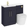 Arezzo 1100 Matt Blue Combination Furniture Pack (Brushed Brass Flush & Handles) profile small image view 1