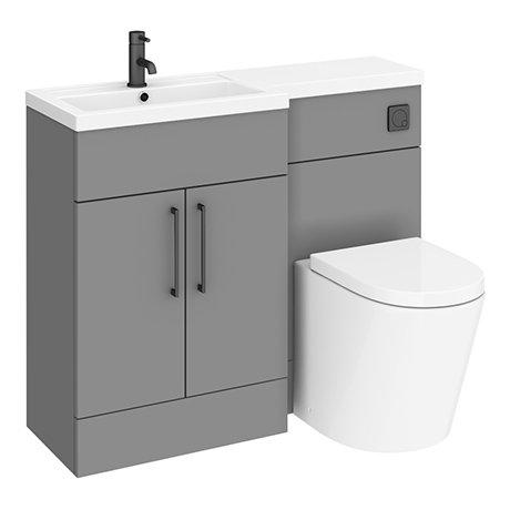 Arezzo 1100 Matt Grey Combination Furniture Pack (Matt Black Flush & Handles)