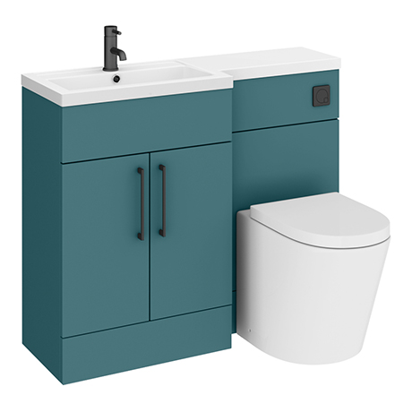 Arezzo 1100 Matt Green Combination Furniture Pack (Matt Black Flush & Handles)