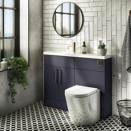 Arezzo 1100 Matt Blue Slimline Combination Vanity Unit (Brushed Brass Flush & Handles)