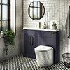 Arezzo 1100 Matt Blue Slimline Combination Vanity Unit (Brushed Brass Flush & Handles) profile small image view 1