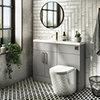 Arezzo 1100 Matt Grey Slimline Combination Vanity Unit (Brushed Brass Flush & Handles) profile small image view 1