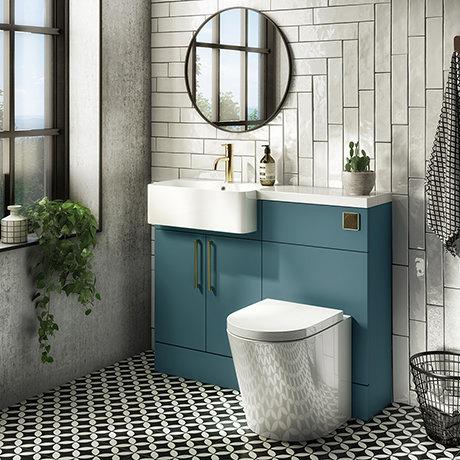 Arezzo 1100 Matt Green Semi-Recessed Round Combination Vanity Unit (Brushed Brass Flush & Handles)