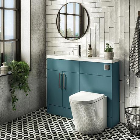 Arezzo 1100 Matt Green Slimline Combination Vanity Unit (Chrome Flush & Handles)