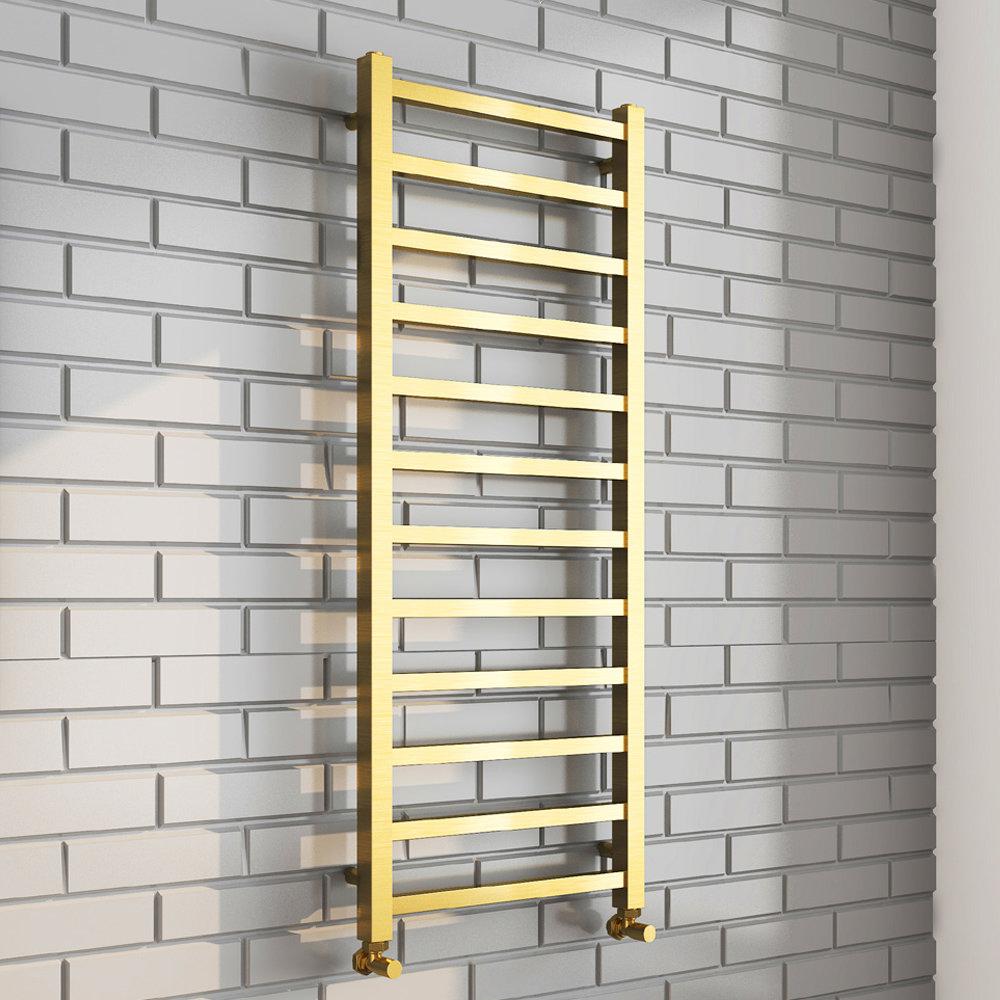 Arezzo Cube Brushed Brass 1200 x 500 Heated Towel Rail