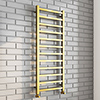 Arezzo Cube Brushed Brass 1200 x 500 Heated Towel Rail profile small image view 1
