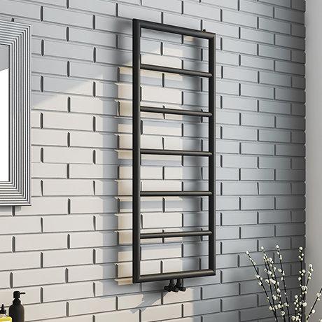Arezzo Matt Black 1200 x 500 Ladder Heated Towel Rail