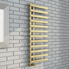 Arezzo Brushed Brass 1200 x 500mm 12 Bars Designer Heated Towel Rail profile small image view 1