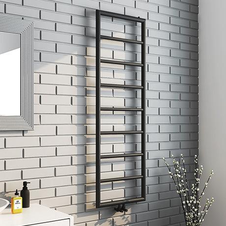 Arezzo Matt Black 1500 x 500 Ladder Heated Towel Rail
