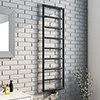 Arezzo Matt Black 1500 x 500 Ladder Heated Towel Rail profile small image view 1