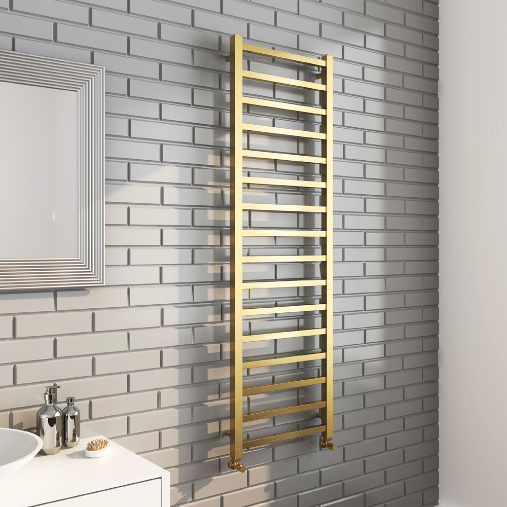 Arezzo Cube Brushed Brass 1600 x 500 Heated Towel Rail
