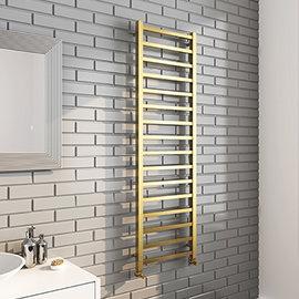 Arezzo Cube Brushed Brass 1600 x 500 Heated Towel Rail