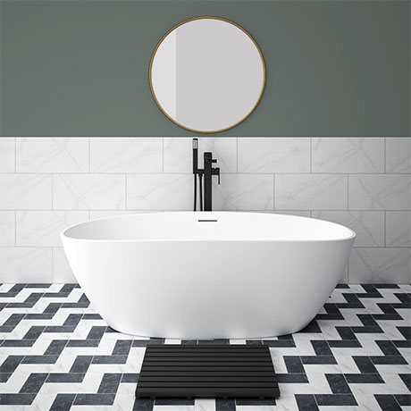 Arezzo 1650 x 690 Matt White Solid Stone Curved Double Ended Bath