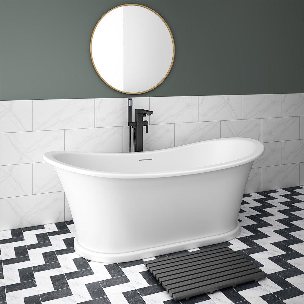 Arezzo 1690 x 750 Matt White Solid Stone Traditional Roll Top Slipper Bath