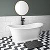 Arezzo 1690 x 750 Matt White Solid Stone Traditional Roll Top Slipper Bath profile small image view 1