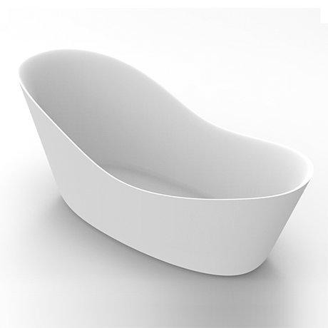 Arezzo 1700 x 750 Matt White Solid Stone Modern Slipper Bath