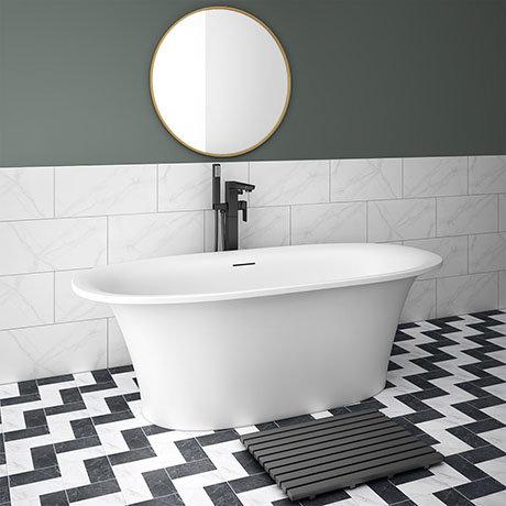 Arezzo 1690 x 750 Matt White Solid Stone Modern Roll Top Bath