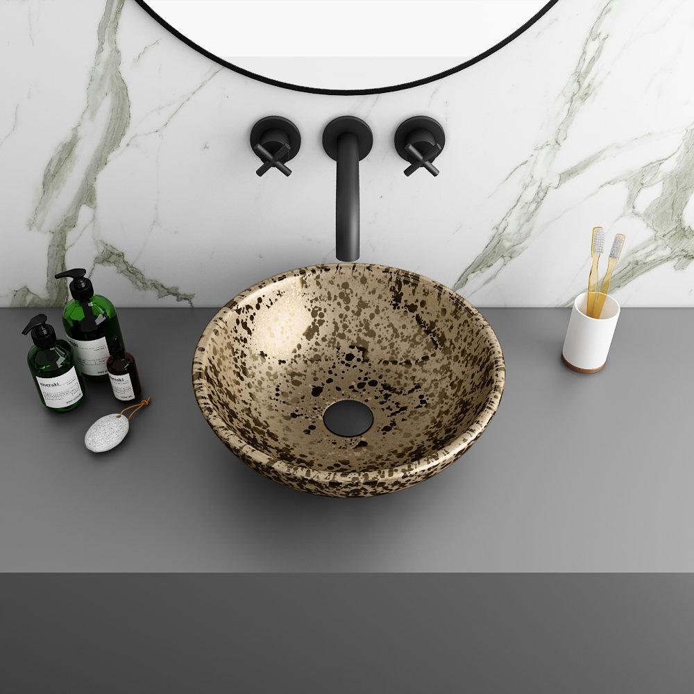 Arezzo Round 410mm Gold Mottled Design Ceramic Counter Top Basin