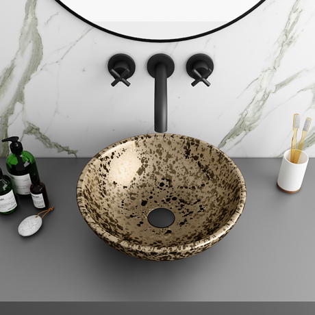 Arezzo Round 410mm Gold Mottled Design Ceramic Counter Top Basin