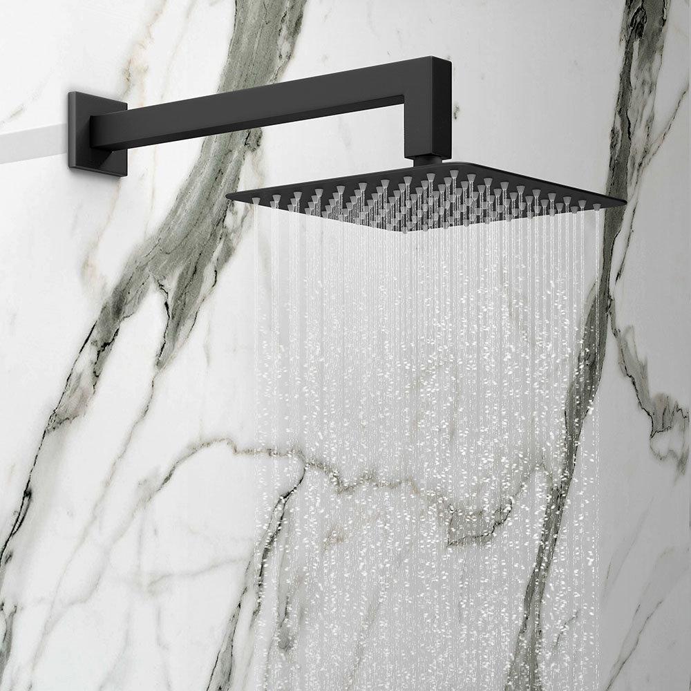 Arezzo Matt Black 200 x 200mm Square Shower Head with Wall Mounted Arm