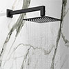 Arezzo Matt Black 200 x 200mm Square Shower Head with Wall Mounted Arm profile small image view 1