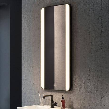 Arezzo Matt Black 600 x 1200mm Rectangular LED Illuminated Anti-Fog Bathroom Mirror
