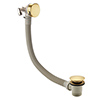 Arezzo Brushed Brass Round Slimline Freeflow Bath Filler Waste and Overflow profile small image view 1