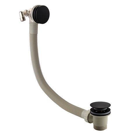 Arezzo Matt Black Round Slimline Freeflow Bath Filler Waste and Overflow