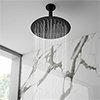 Arezzo Matt Black 250mm Thin Round Shower Head + Ceiling Mounted Arm profile small image view 1