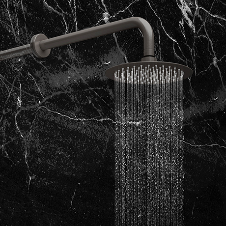Arezzo Round 200mm Brushed Gunmetal Grey Fixed Shower Head + Wall Mounted Arm