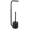 Arezzo Black Free Standing Toilet Brush + Roll Holder profile small image view 1