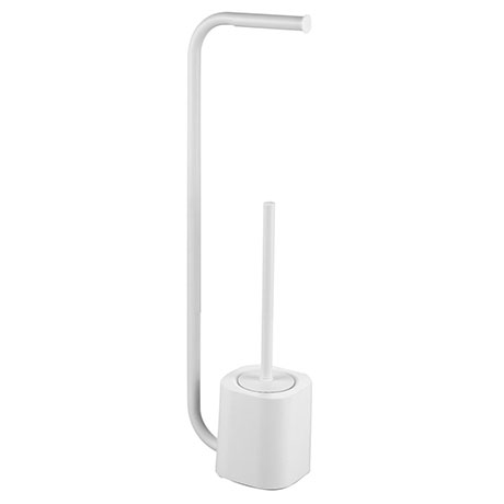 Arezzo White Free Standing Toilet Brush and Roll Holder