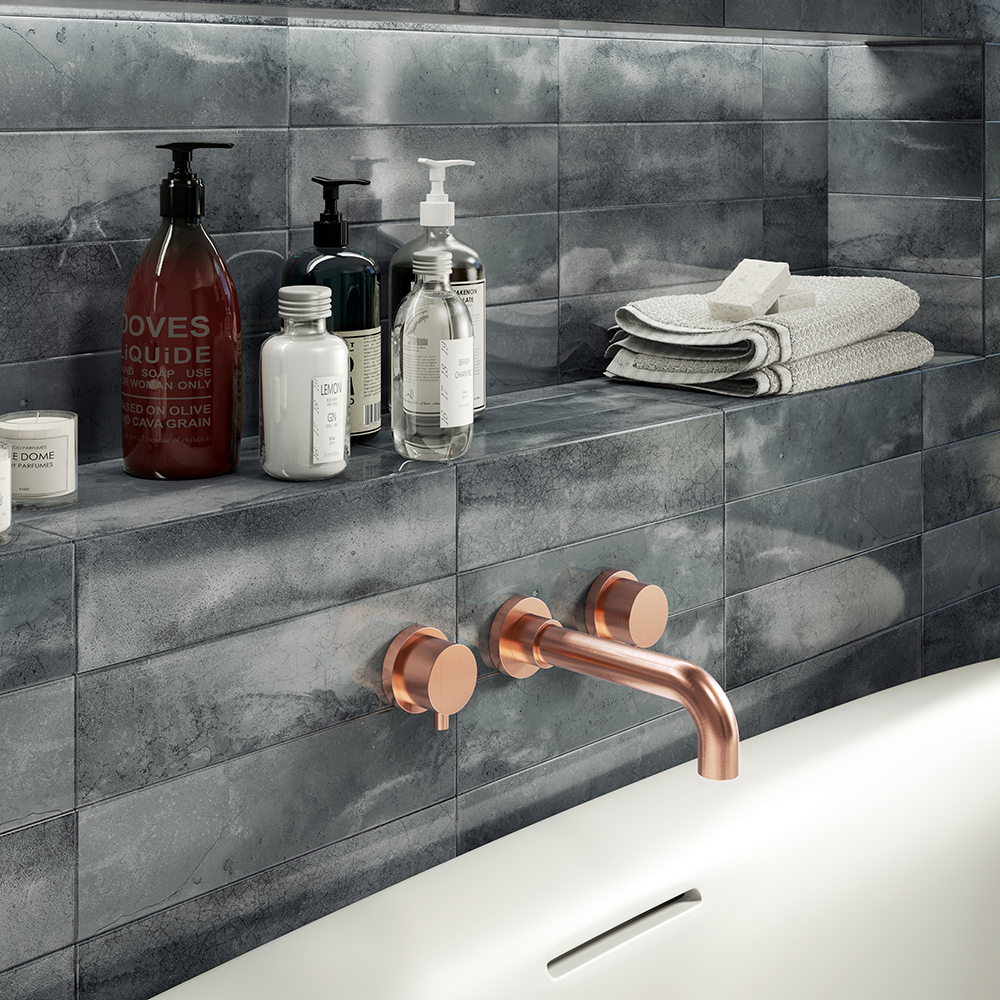 The Arezzo Round Rose Gold Wall Mounted (3TH) Bath Filler Tap - For Impressive Bathroom Makeover Ideas